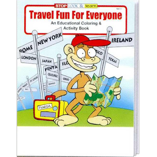 Imprinted Travel Fun For Everyone Coloring and Activity Book Fun Pack