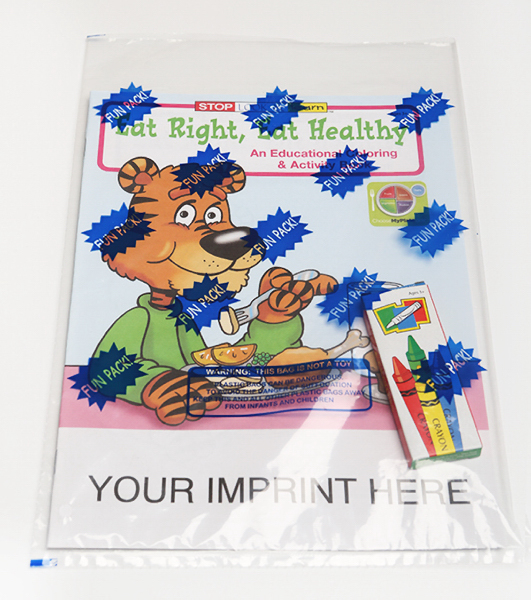 Imprinted Eat Right, Eat Healthy Coloring and Activity Book Fun Pack