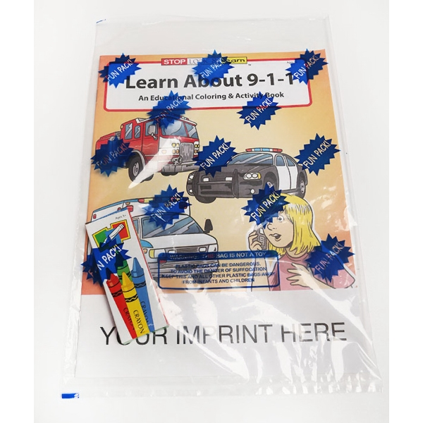 Customized Learn About 9-1-1 Coloring and Activity Book Fun Pack