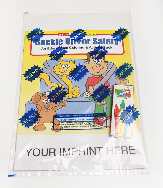 Printed Buckle Up For Safety Coloring and Activity Book Fun Pack