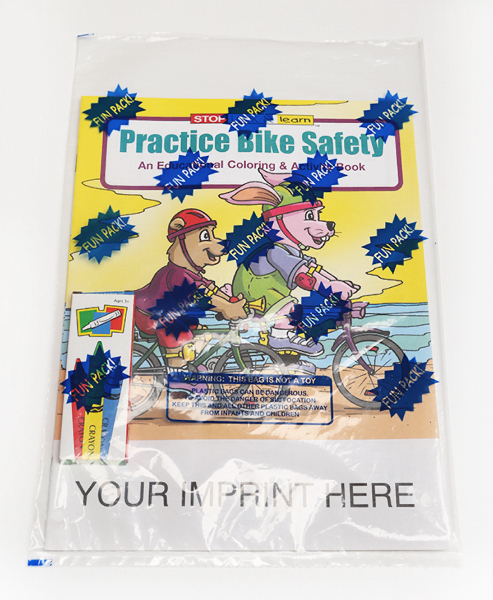 Imprinted Practice Bike Safety Coloring and Activity Book Fun Pack