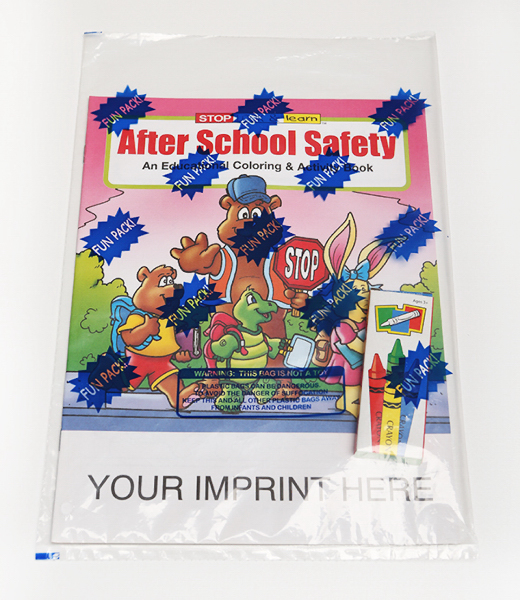 Customized After School Safety Coloring and Activity Book Fun Pack