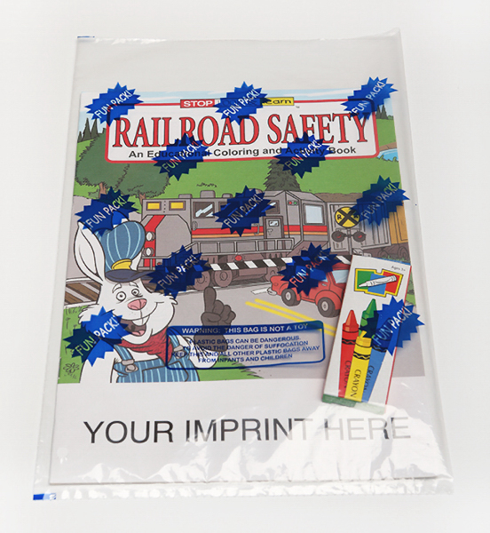 Customized Railroad Safety Coloring and Activity Book Fun Pack