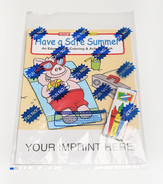 Printed Have a Safe Summer Coloring and Activity Book Fun Pack