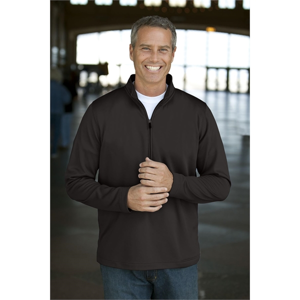 Customized Zip Brushed Back Micro-Fleece Pullover