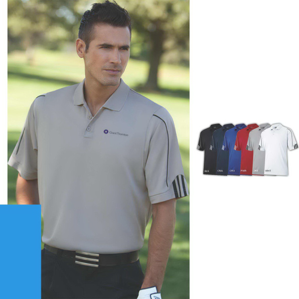 Personalized Adidas ClimaLite (R) 3-Stripes Cuff Polo