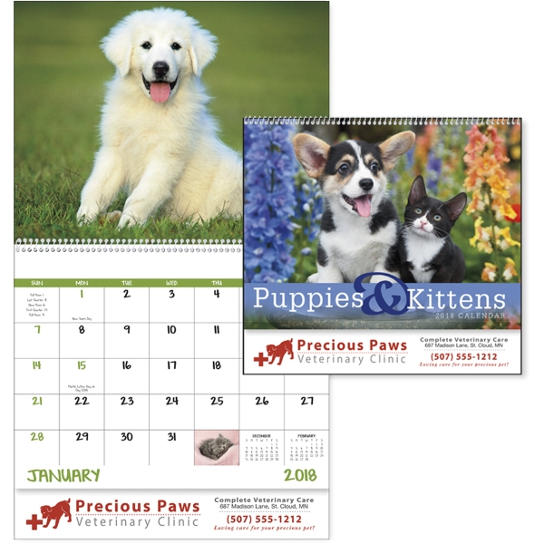 Printed Puppies & Kittens - Spiral  Appointment Calendar