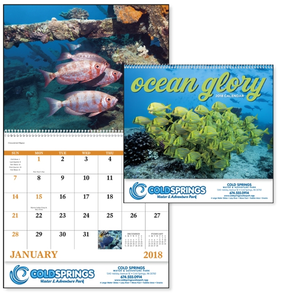 Imprinted Ocean Glory -  Spiral  Appointment Calendar