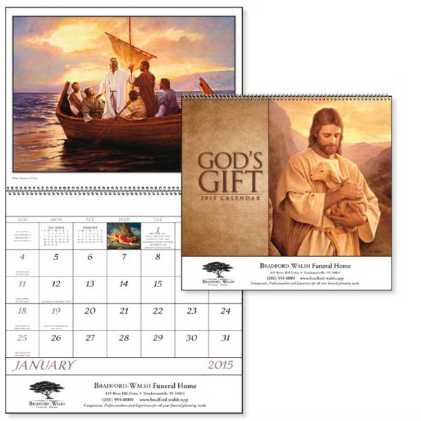 Personalized God's Gift Calendar with Funeral Pre-Planning Sheet - Spiral