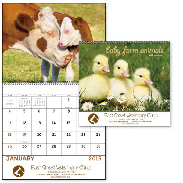 Printed Baby Farm Animals - Spiral  Appointment Calendar
