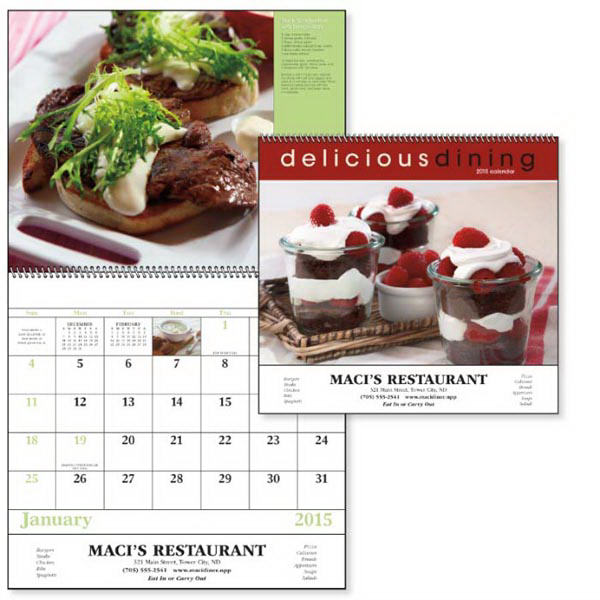 Customized Delicious Dining - Spiral Appointment Calendar