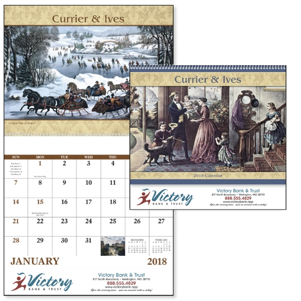 Personalized Currier & Ives - Spiral Appointment Calendar