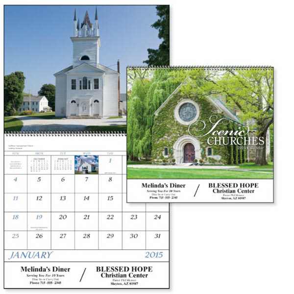 Personalized Scenic Churches - Spiral Appointment Calendar