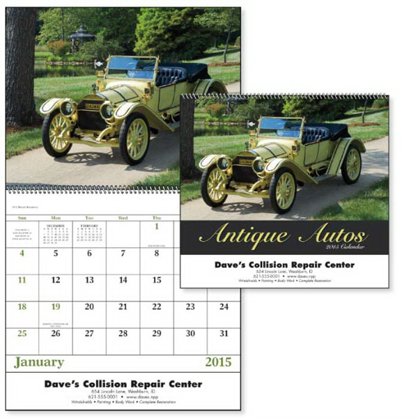 Personalized Antique Autos - Spiral Appointment Calendar