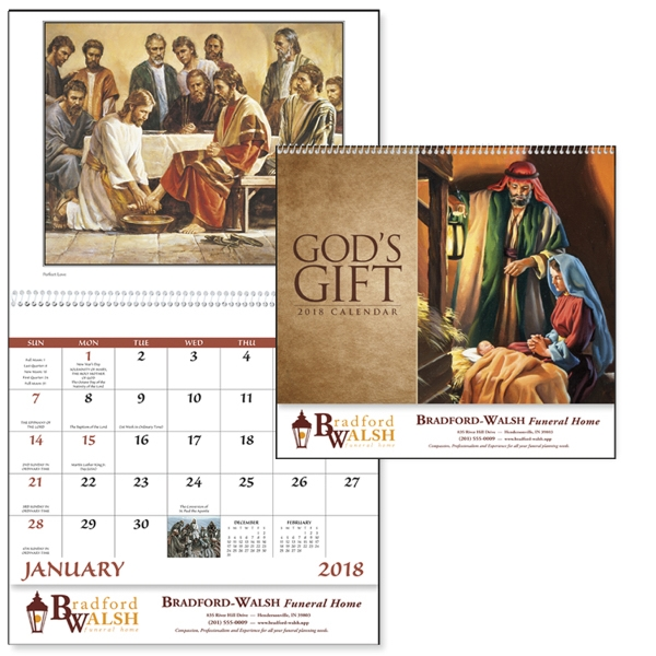 Customized God's Gift Calendar W/O Funeral Pre-Planning Sheet-Spiral