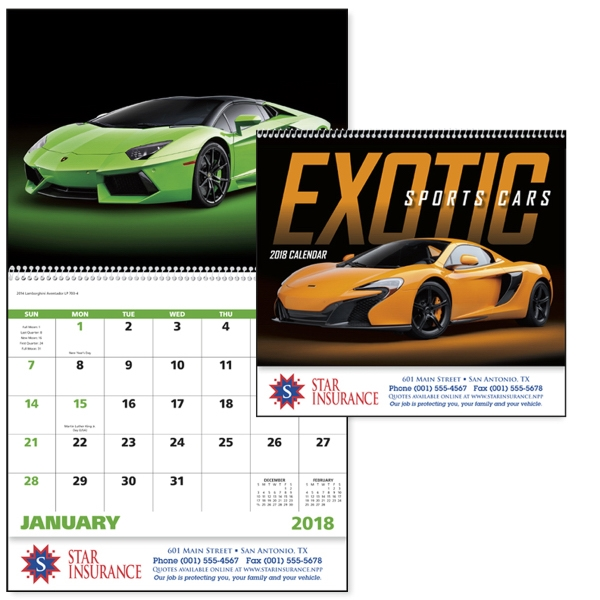 Personalized Exotic Sports Cars - Spiral Appointment Calendar