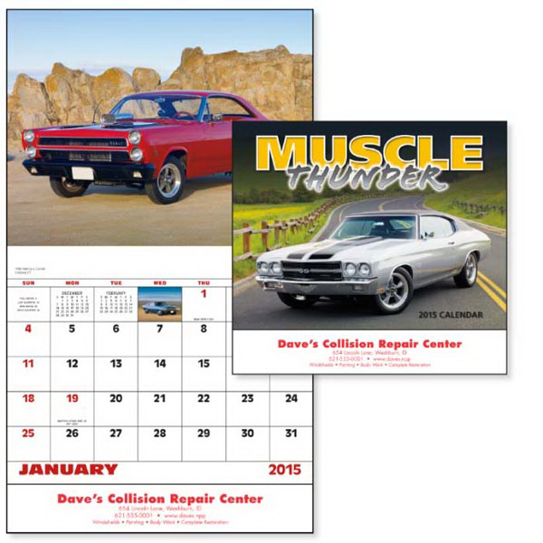 Imprinted Muscle Thunder - Stapled Appointment Calendar