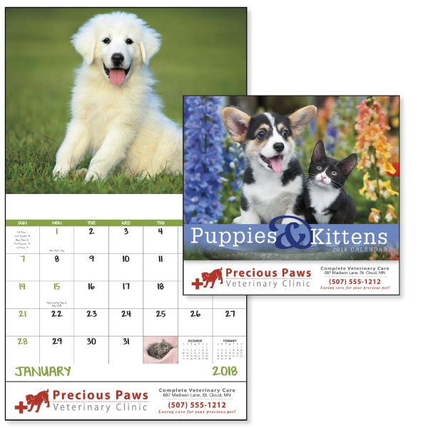 Personalized Puppies & Kittens - Stapled Appointment Calendar