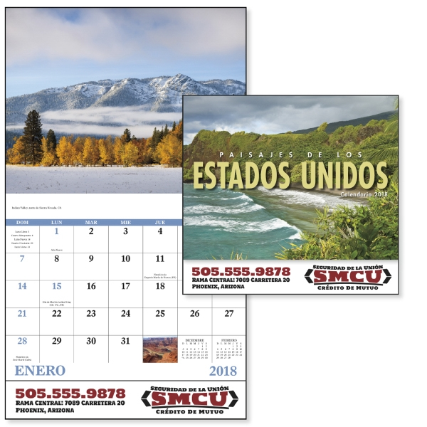 Promotional Paisajes do los Estados Unidos (Spanish) - Stapled Calendar
