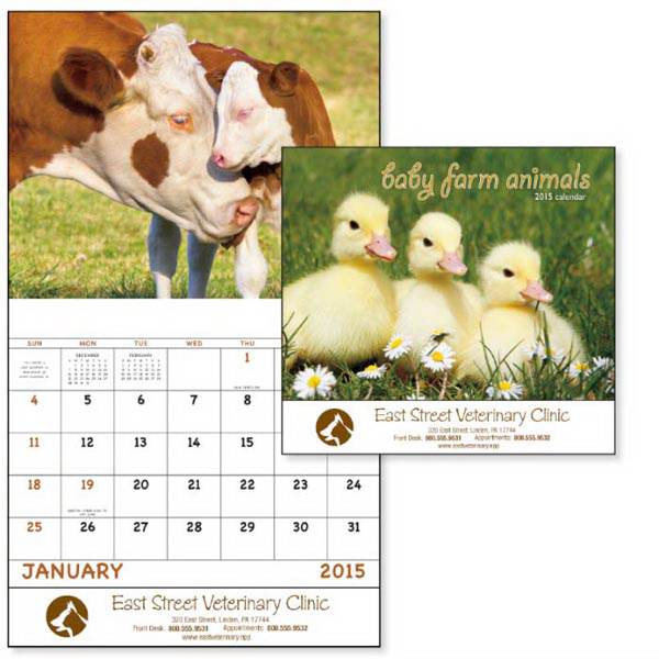 Custom Baby Farm Animals, Stapled Appointment Calendar