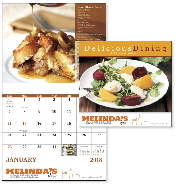 Imprinted Delicious Dining - Stapled Appointment Calendar