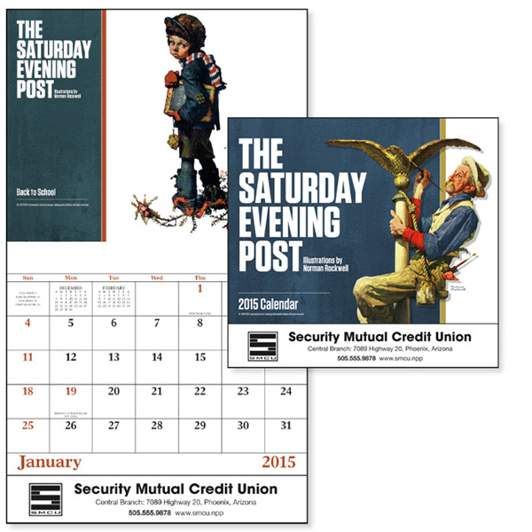 Printed The Saturday Evening Post Stapled Appointment Calendar
