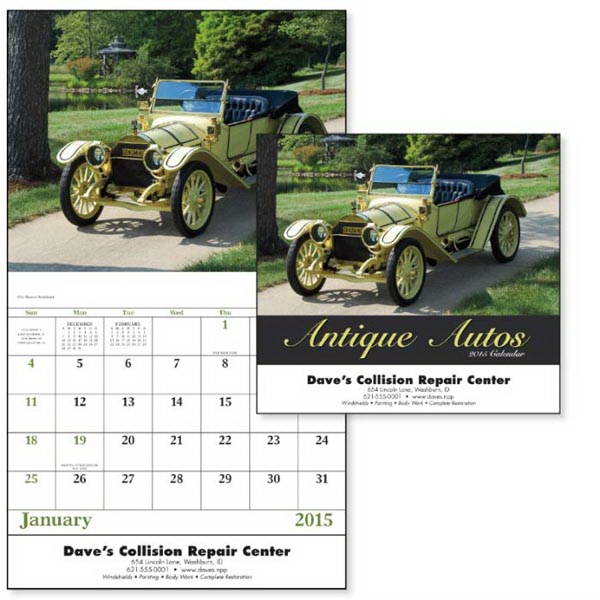 Imprinted Antique Autos - Stapled Appointment Calendar