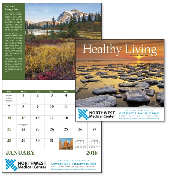Printed Healthy Living - Stapled Appointment Calendar