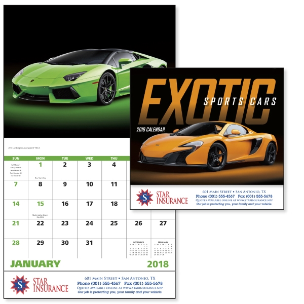 Promotional Exotic Sports Cars - Stapled Appointment Calendar