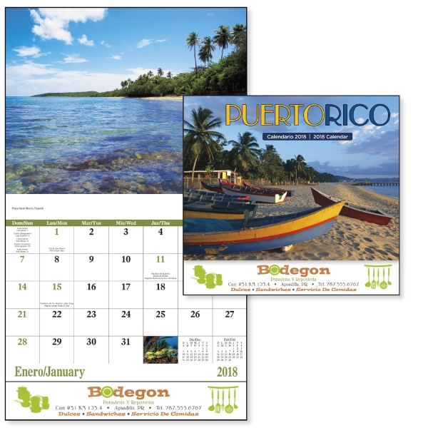 Promotional Puerto Rico - Stapled 13 Month Appointment Calendar