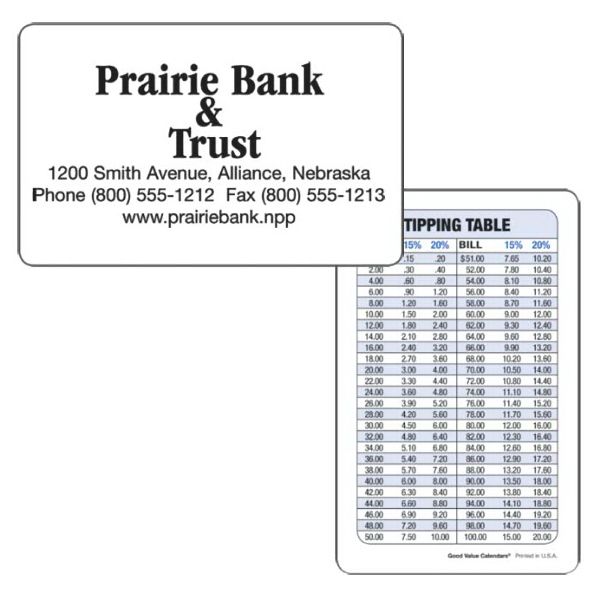 Personalized Wallet Card (Tipping Table)