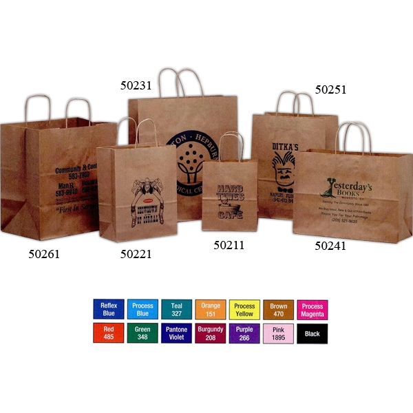 Imprinted Brown Kraft Paper Bag