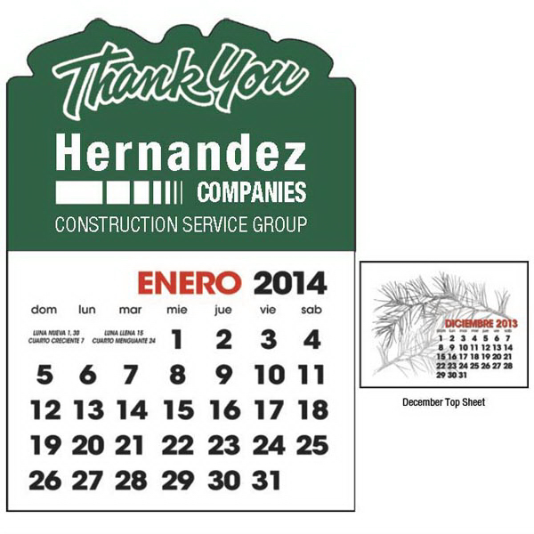 Promotional Spanish 2-Color Stick Up Calendar - 13-Month