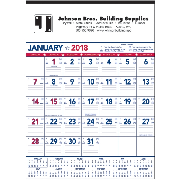 Promotional Patriotic Contractor Memo 13-Sheet Calendar