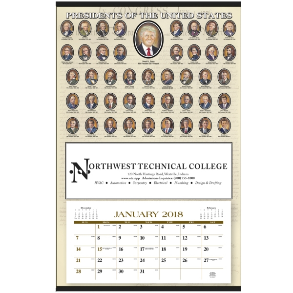 Custom Presidents Hanger 12-Month Calendar