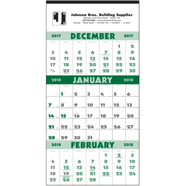 Promotional 3-Month Planner - 12-Sheet