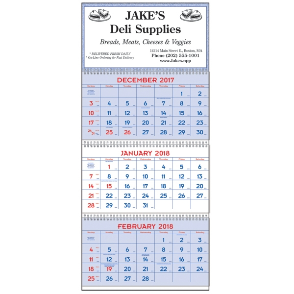 Imprinted Commercial Planners - Red & Blue