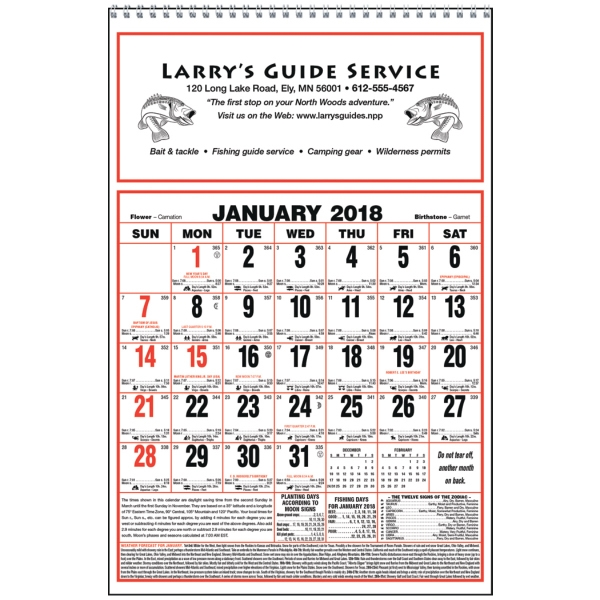 Imprinted Large Almanac Calendar
