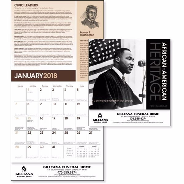 Customized African-American Heritage - Dr. M Luther King, Jr Calendar