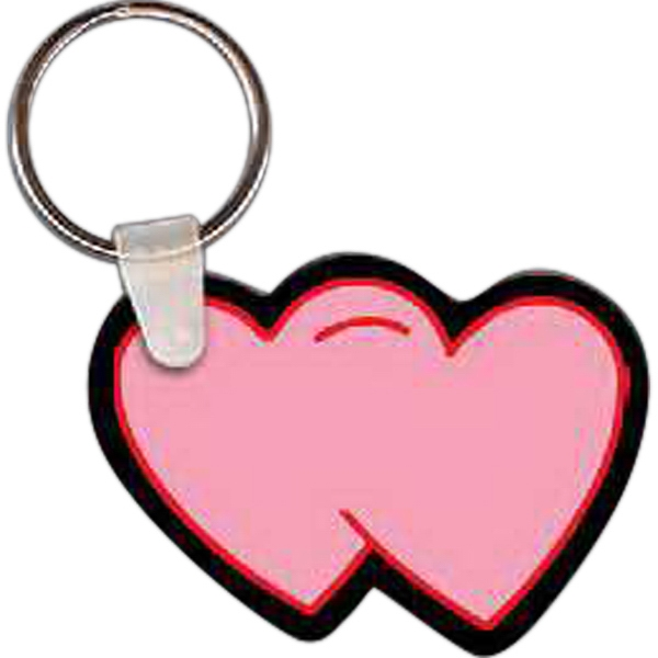 Imprinted Two Hearts Key Tag