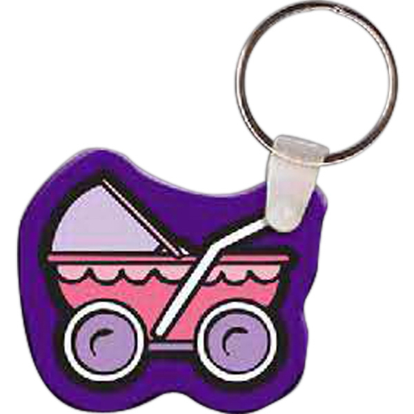 Imprinted Baby Carriage Key Tag
