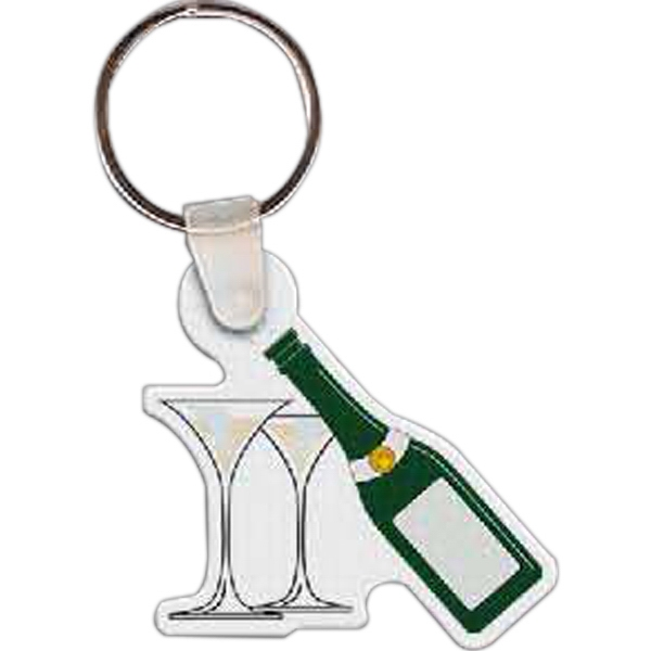Imprinted Champagne & Glasses Key Tag