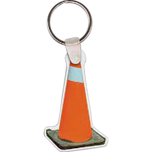 Imprinted Construction Cone Key Tag