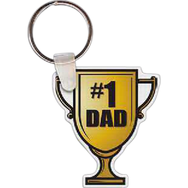 Personalized Number 1 Dad Trophy Key Tag