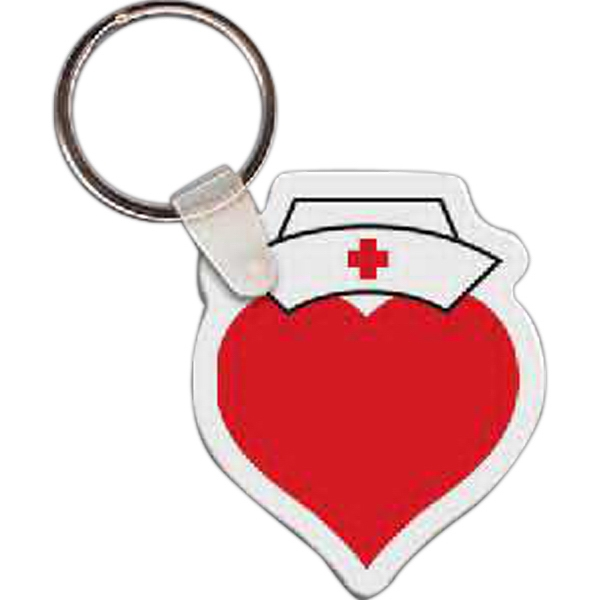 Custom Heart with Nurse Hat Key Tag