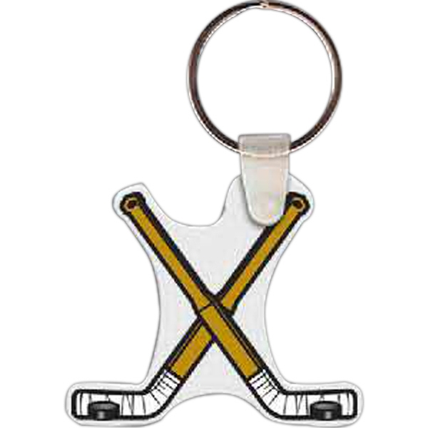Imprinted Hockey Stick Key Tag