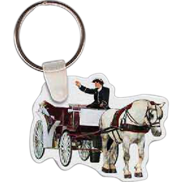Imprinted Horse & Carriage Key Tag