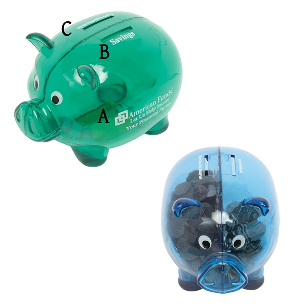 Imprinted Dual Savings Piggy Bank