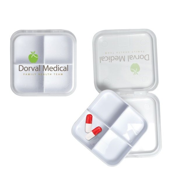 Imprinted Removable 4 Compartment Pillbox
