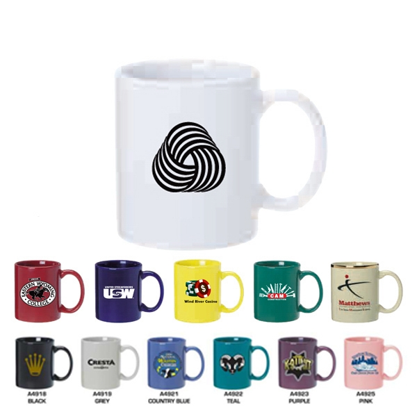 Imprinted Ceramic mug with C shaped handle